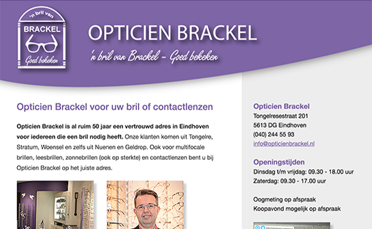 Afbeelding website Opticien Brackel